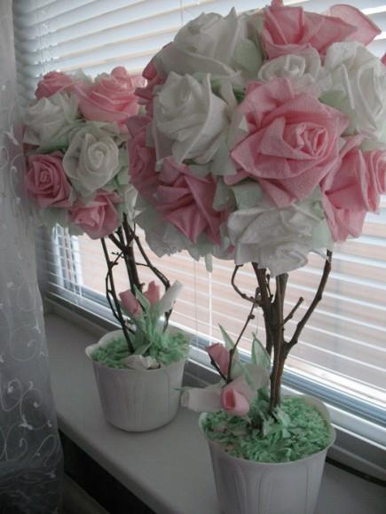 Фото работы топиария цветы в постельных тонах
