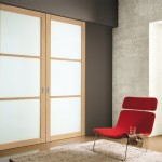 Breathtaking-Japanese-Style-of-Sliding-Interior-Doors-with-Soft-Brown-Wooden-Frame-Facing-Red-Chair