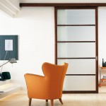 Fabulous-Blurry-Glass-Sliding-Interior-Doors-which-Has-Wooden-Frame-Facing-Orange-Wingback-Chair