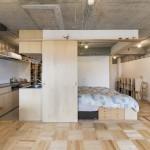 Tsukiji-Room-H-Yuichi-Yoshida-associates-Tokyo-Bedroom-and-Kitchen-Humble-Homes