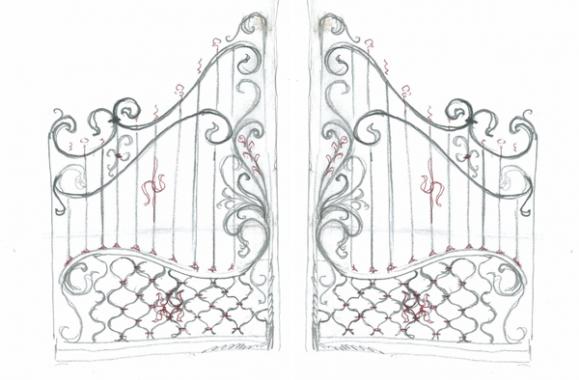 фото кованных ворот пример эскиза