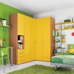 kid-bedroom-ideas-for-small-rooms-then-desk-for-computer-with-green-white-wall-color-comb-also-floated-bookshelves-on-wall-and-corner-closet-with-yellow-doors-color