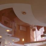 Двухуровневые натяжные потолки: 42 фото идеи