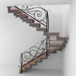 Metal Staircase and Wrought Iron Railings with Marble-3
