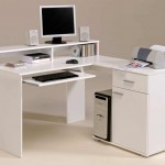 White-Modern-Small-Corner-Computer-Desk-with-Storage-Drawer-and-Printer-on-It