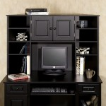 furniture-elegant-solid-black-wooden-working-desk-with-twin-open-shelves-book-case-and-drawers-black-wooden-desks