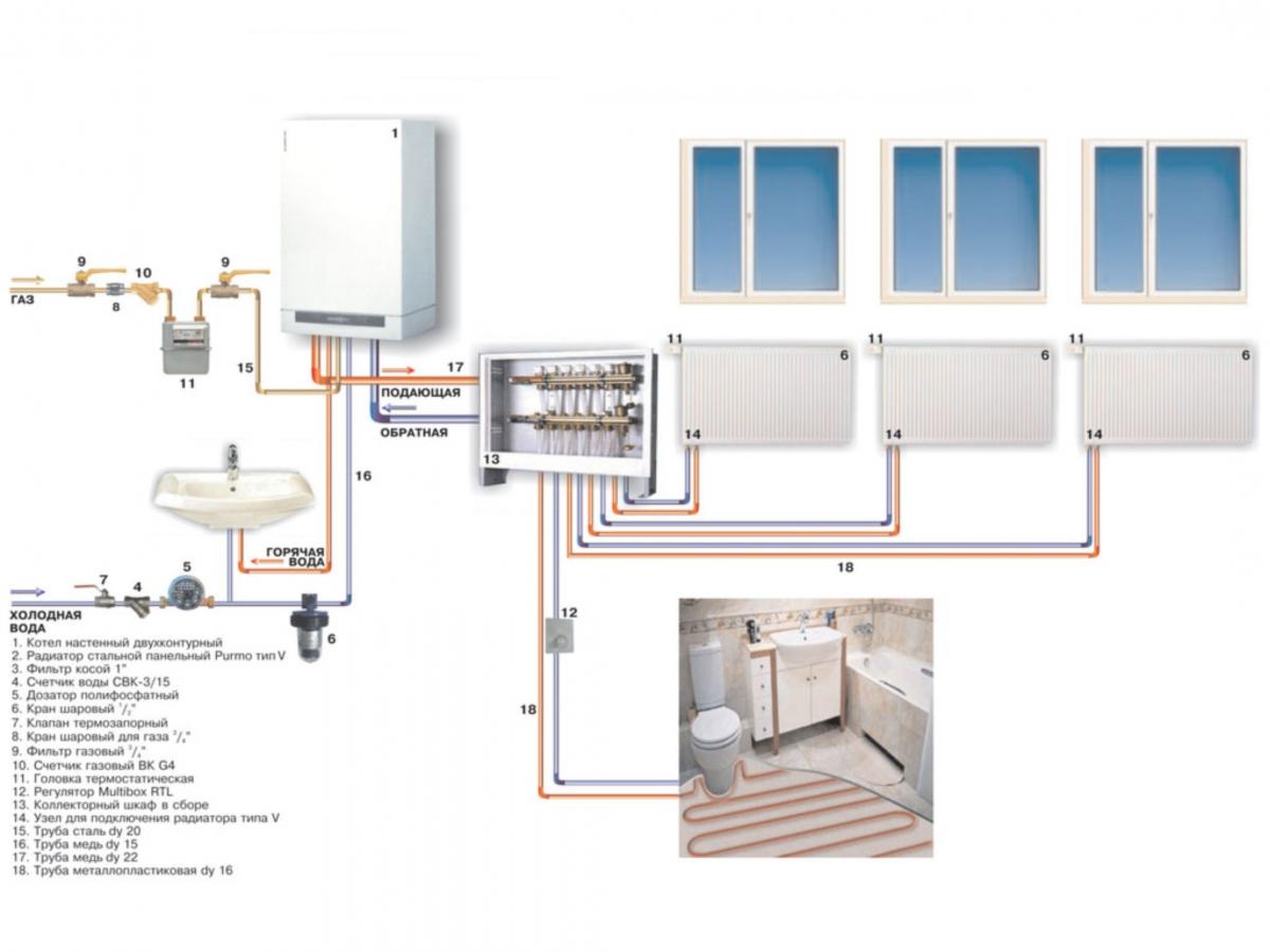Как собрать отопление в доме своими руками схема фото 554