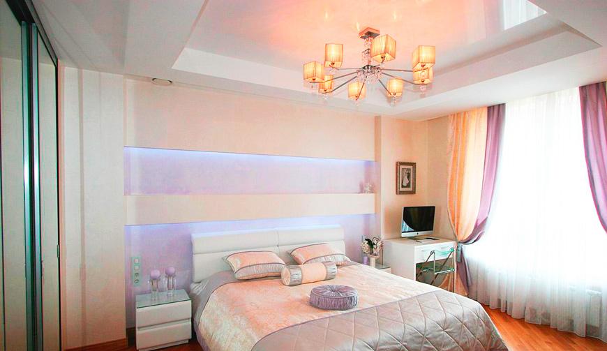 Дизайн потолков у спальне