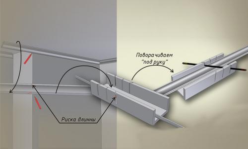 Крепление багета к натяжным потолкам