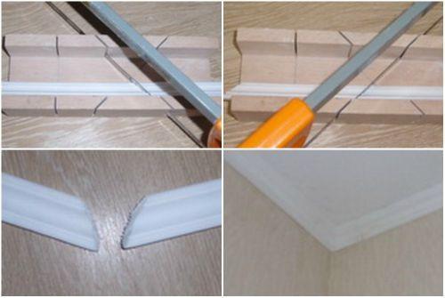 Существует два метода отделки потолочным плинтусом.