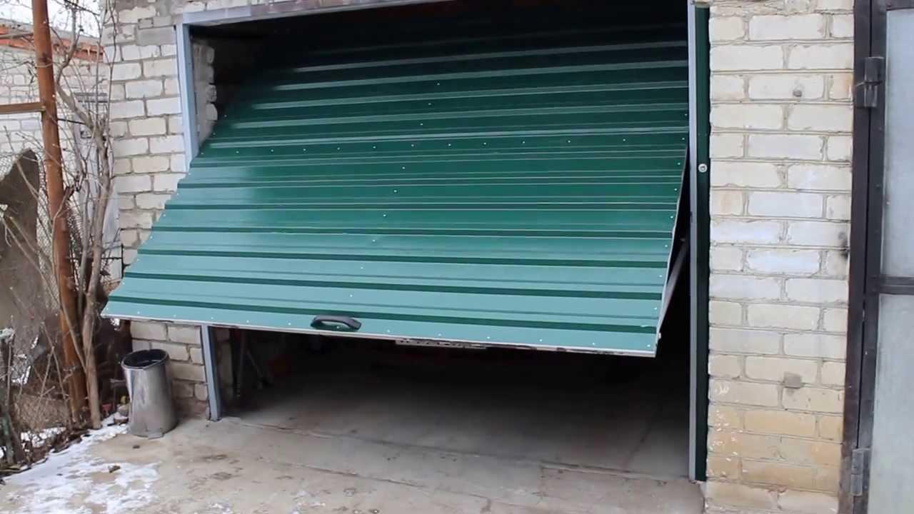Ворота в гараж своими руками видео фото