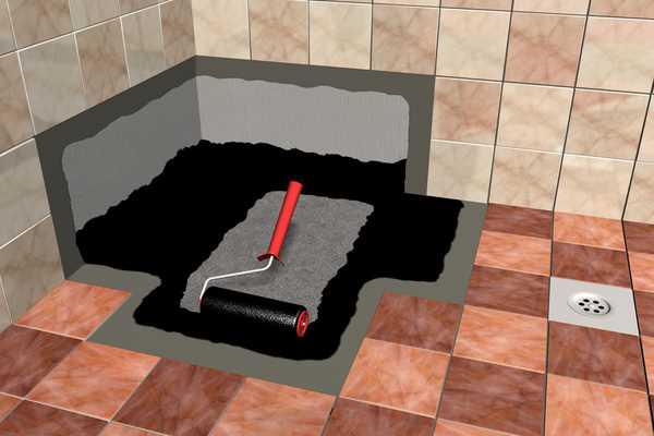 вариант гидроизоляции трапа в полу ванной комнаты оклеечным способом с поддоном