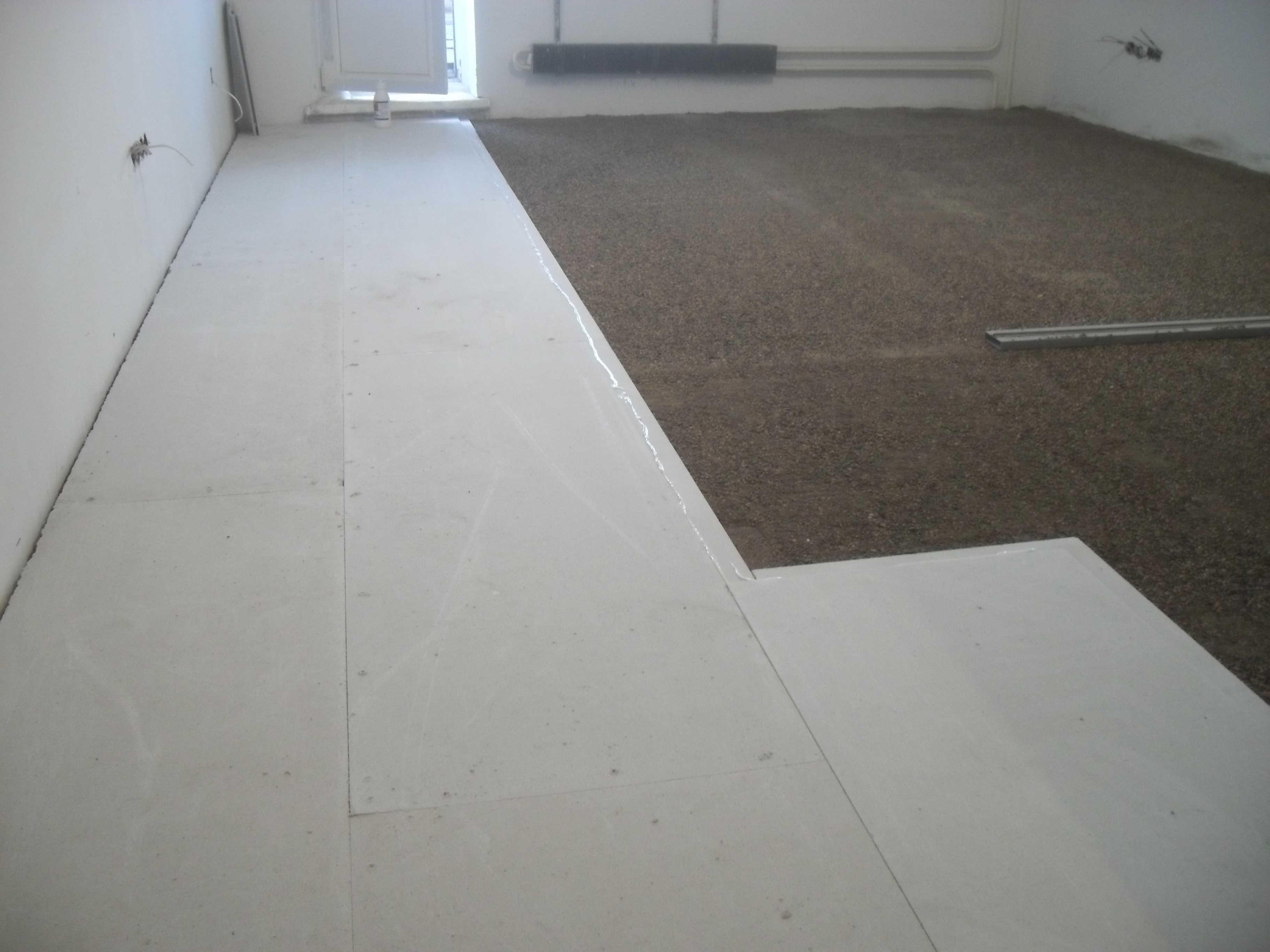 вариант использования сухой стяжки кнауф в ремонте комнаты