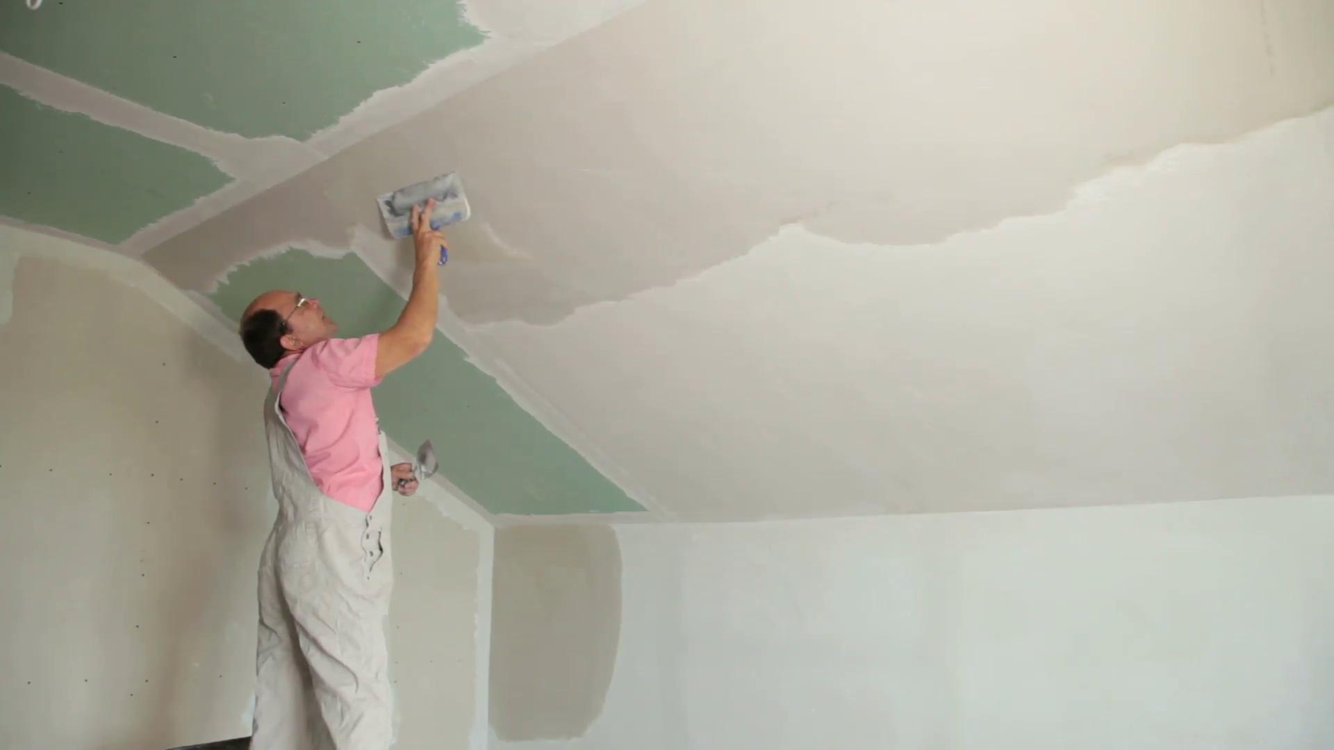 Шпаклевка потолка своими руками - пошаговая инструкция и 90