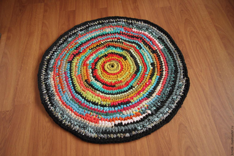Вязание круглого коврика из старых вещей крючком 33