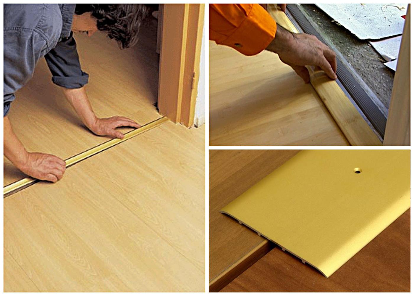пример использования гибкого порога для ламината и плитки в ремонте комнаты